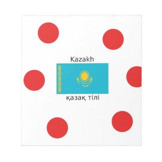 Bloc-note Langue kazakh et conception de drapeau de