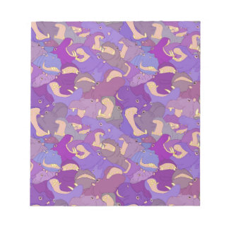 Bloc-note Laughing Hippos - purple