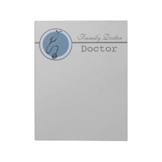Bloc-note Le docteur bleu de stéthoscope de cercle
