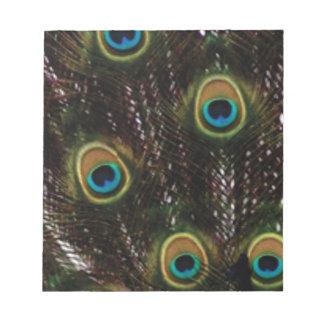 Bloc-note le paon observe des plumes