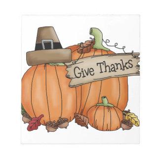 Bloc-note Le thanksgiving donnent des mercis
