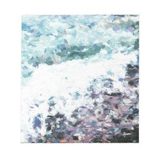 Bloc-note Les vagues enroulent au rivage - peinture - cadeau