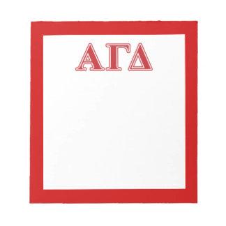 Bloc-note Lettres blanches et vertes d'alpha delta gamma