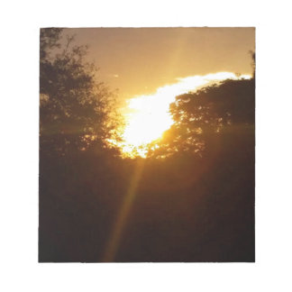 Bloc-note Lever de soleil brillant au-dessus des arbres