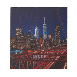 Bloc-note Lumières de nuit de New York City de pont de