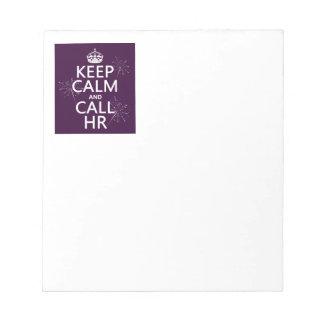 Bloc-note Maintenez calme et l'appel heure (toute couleur)