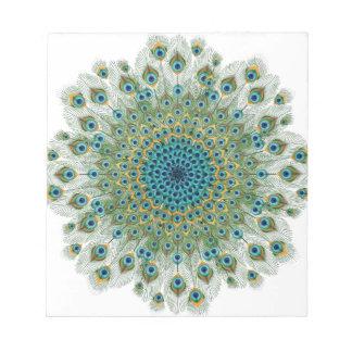 Bloc-note Mandala coloré de paon masculin