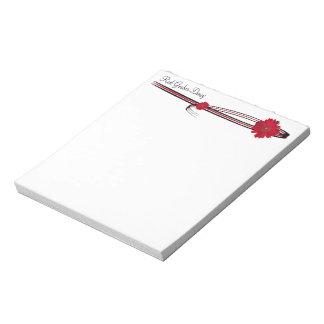 Bloc-note Marguerite rouge de Gerber et modèle en filigrane