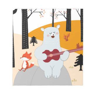 Bloc-note Mignon chantez un loup de renard de chanson d'été