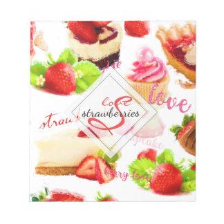 Bloc-note Monogramme d'amour de bonbons à fraise d'aquarelle