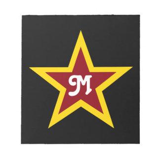 Bloc-note Monogramme fait sur commande simple d'étoile rouge