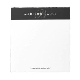 Bloc-note Monogramme noir et blanc professionnel simple