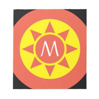 Bloc-note Monogramme parafé par éclat jaune et orange mignon