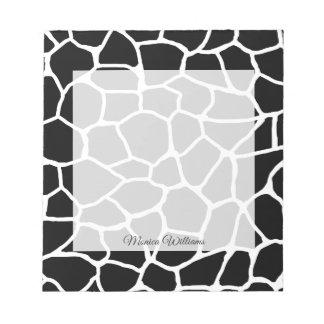 Bloc-note Motif animal d'impression noir et blanc de girafe