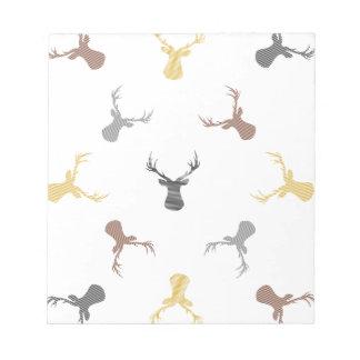 Bloc-note Motif de cerfs communs - beige, brun, gris et noir