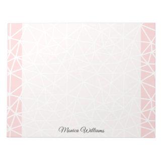 Bloc-note Motif géométrique blanc rose Girly de rayures