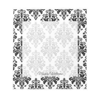 Bloc-note Motif noir et blanc élégant de damassé
