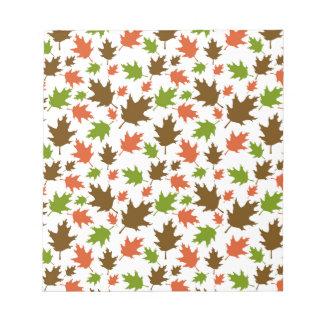 Bloc-note Motif orange vert de feuille d'automne de Brown