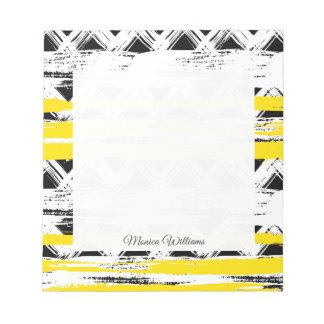 Bloc-note Motif tribal de rayures jaunes blanches noires