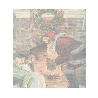 Bloc-note Noël vintage, enfants victoriens du père noël