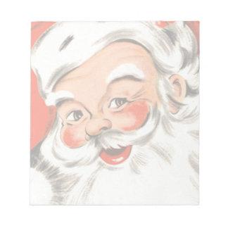 Bloc-note Noël vintage, le père noël gai avec le sourire