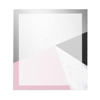 Bloc-note Noir rose de marbre blanc argenté géométrique