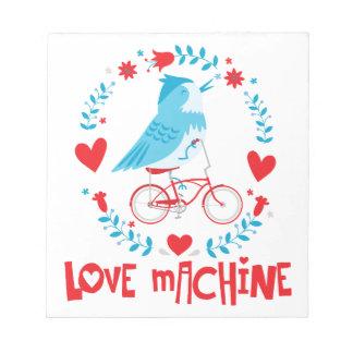 Bloc-note Oiseau d'oiseau bleu de machine d'amour sur la