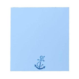 Bloc-note Orienté marin nautique de l'ancre du bateau bleu
