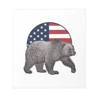 Bloc-note Ours gris américain