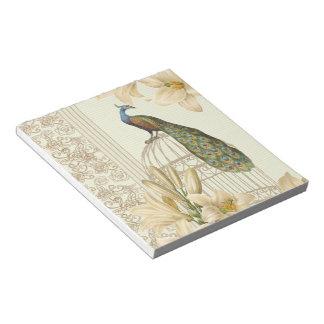 Bloc-note paon vintage de cage à oiseaux de lis français de