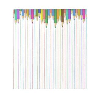 Bloc-note Papier ordonné coloré de crayon