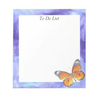 Bloc-note Papillon sur l'aquarelle bleue