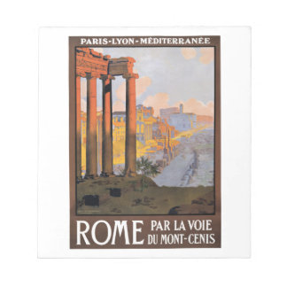 Bloc-note Paris 1920 à l'affiche de voyage de train de Rome