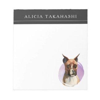 Bloc-note Peinture d'aquarelle de chien de boxeur