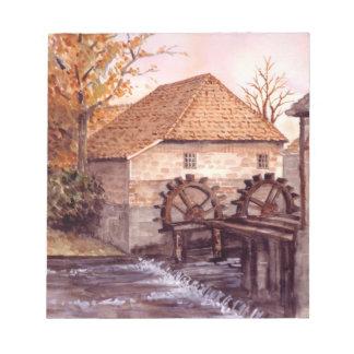 Bloc-note Peinture d'aquarelle de moulin à eau par Farida