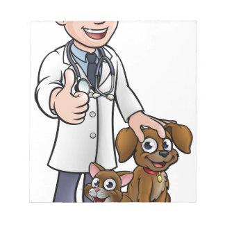 Bloc-note Personnage de dessin animé de vétérinaire avec le