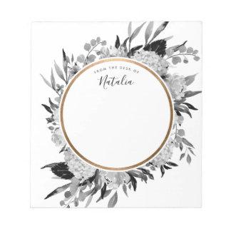 Bloc-note Personnel floral d'aquarelle noire et blanche