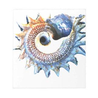 Bloc-note Pièce en t en spirale d'or de yoga de coquillage
