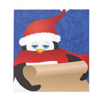 Bloc-note Pingouin Père Noël tenant l'illustration de