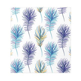 Bloc-note Plumes de bleu et de violette de paon