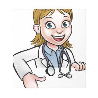 Bloc-note Pointage de docteur personnage de dessin animé de