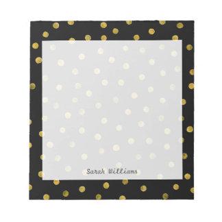 Bloc-note Points élégants de confettis de noir et de feuille