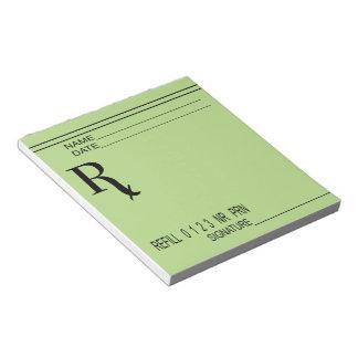 Bloc-note Protection de prescription de Rx - écrivez votre