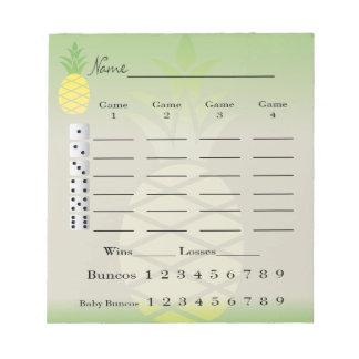 Bloc-note protection de score de bunco ou carte de score -