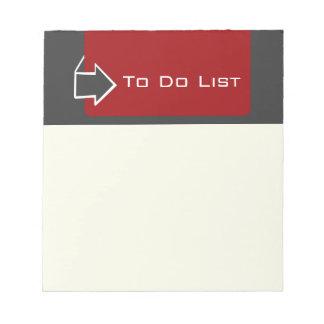 Bloc-note Rappel pour faire la conception de flèche de liste