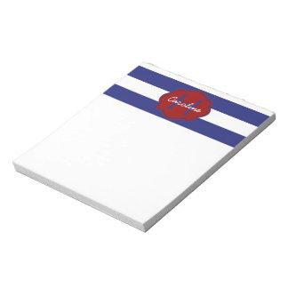 Bloc-note Rayure horizontale classique bleue et blanche