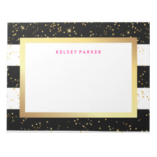 Bloc-note Rayures noires et blanches avec des confettis d'or
