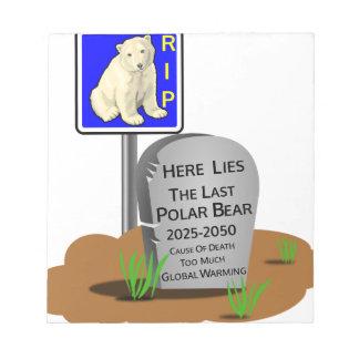 Bloc-note Réchauffement climatique, ours blanc 2050 de