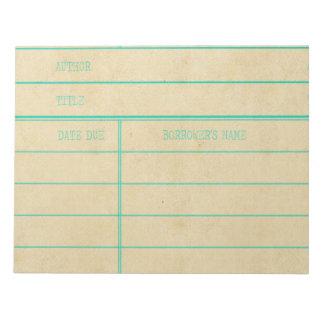 Bloc-note Rétro carte due de date de livre de bibliothèque