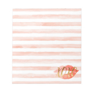 Bloc-note Rougissent le baiser rose d'aquarelle de l'or XOXO